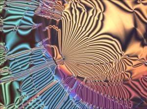 """Texture de défaut dans un film suspendu de cristal liquide constitué d'une phase lamellaire de type """"smectique-C"""" (les molécules en forme de bâtonnet sont inclinées dans les couches constituant cette phase lamellaire). L'objectif est de comprendre le rôle des défauts topologiques dans la stabilisation des films suspendus de cristaux liquides. UPR8641 CENTRE DE RECHERCHE PAUL PASCAL 20110001_0111"""