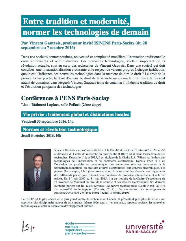 Programme des conférences de V. Gautrais à l'ENS Paris-Saclay