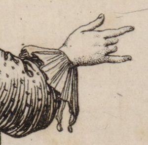 Jeune homme vu de dos montrant du doigt un château situé au loin : [estampe]. Source : Gallica/Bibliothèque nationale de France